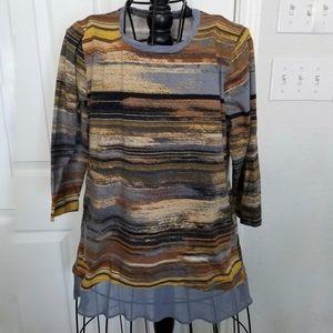 LOGO Lori Goldstein stripe tunic top medium